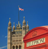 Telephone box and House of Parliament — Stock Photo