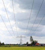 Power lines across the landscape — Stock Photo