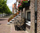 Bench for Dutch canal house — Stock Photo