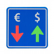 One-way dollar and euro currency traffic — 图库照片