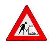 Roadworks at banks in the euro zone — Stock Photo