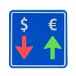 One-way euro and dollar currency traffic — Stock Photo #11666818