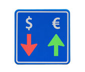 One-way euro and dollar currency traffic — Stock Photo