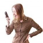 Woman shouting on phone — Stock Photo #11420684