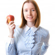 Woman with an apple — Stok fotoğraf