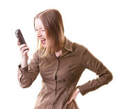 Woman shouting on phone — Stock Photo