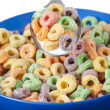 Spoon with colorful cereal — Stock Photo