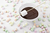 Chocolate dipped marshmallows — Stock Photo