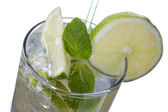 Lemon slice peppermint in glass — Stock Photo