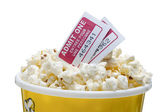 Pop corn goodies and movie tickets — Stock Photo