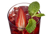 Strawberry drink with strawberry slice and mint leaf — Stock Photo