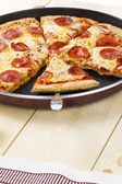 Pizza slices on frying pan — Stock Photo