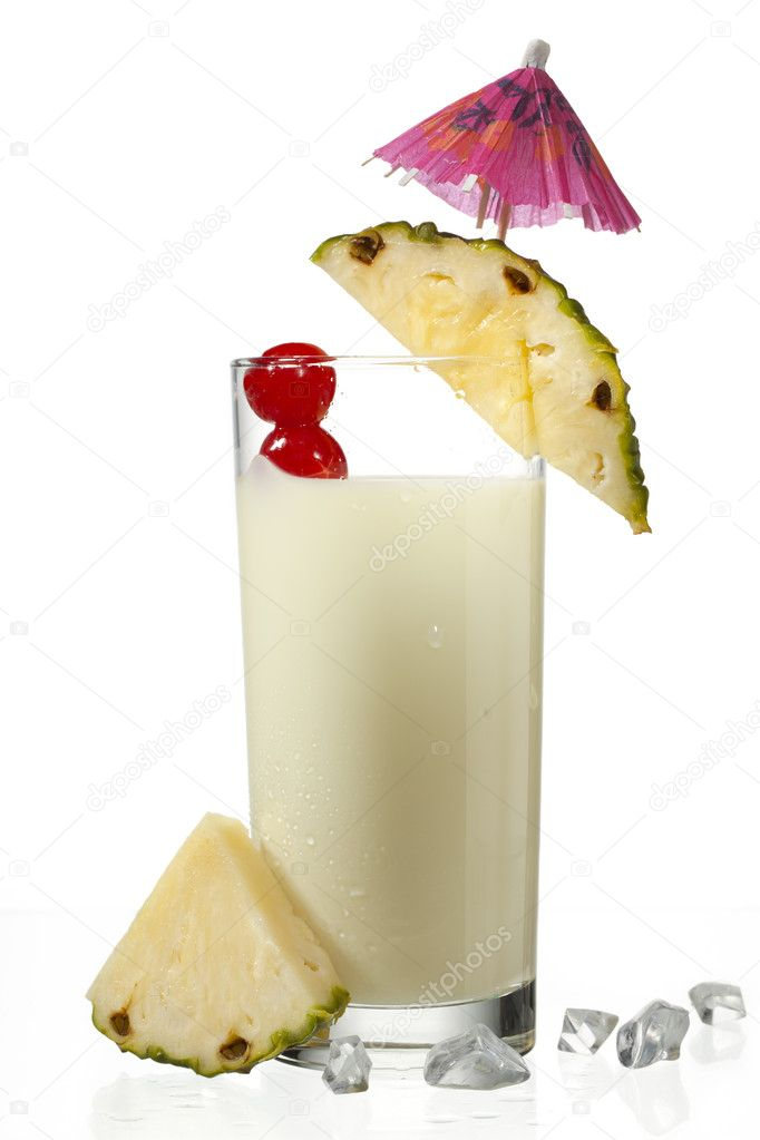 View of pineapple milkshake decorated with slice  Stock Photo #11374677
