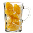 Orange pulp in glass — Stock Photo