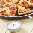 Foto Stock: Pizzon pwith spatula