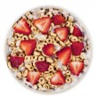 Top view cereal rings with berries — Stock Photo