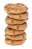 Delicious pretzels isolated on white — Stock Photo