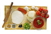 Pizza ingredients top view — Stock Photo