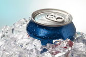 Close up shot of blue cola can — Stock Photo