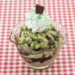 A bowl of pistachio ice cream with chocolates — Stock Photo