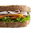 Cropped close up image of ham sandwich — Stock Photo