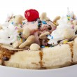 Closed up banana split sundae — Stock Photo