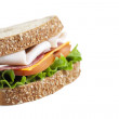 Ham sandwich on white — Stock Photo