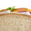 Cropped image of ham sandwich — Stock Photo
