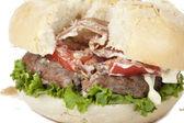 Closeup ruined hamburger — Stock Photo