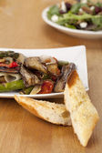 Grilled vegetables with toasted bread — Stock Photo