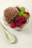 Tempting chocolate ice cream bowl — Stock Photo