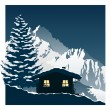 Cozy ski cottage — Stock Vector