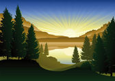 Landscape and sunset — Vector de stock