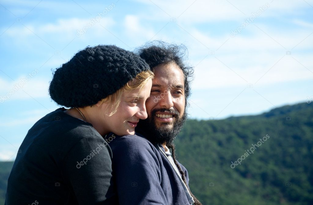 Double Portrait of a couple in love outdoor  Stock Photo #11257895