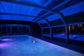 Nightswimming in pool — Stock Photo