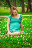 Young happy pregnant woman — Stok fotoğraf