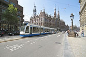 Tram driving in Amsterdam the Netherlands — Stock Photo