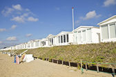 Little beach houses at Zandvoort aan Zee in the Netherlands — Stock Photo