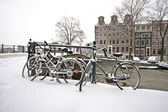 Snowy Amsterdam in wintertime in the Netherlands — Stock Photo
