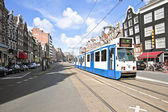 Tram driving in Amsterdam city center in the Netherlands — Stock Photo
