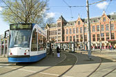 Tram waiting at Central Station in Amsterdam the Netherlands — Stock Photo