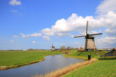 Traditional windmills in dutch landscape — Stock Photo
