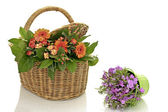 Bouquet of flowers in a wicker basket on a white background — Stock Photo