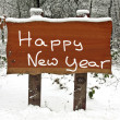 Happy New Year written on a wooden sign in the snowy woods in winter — Stock Photo