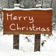 Merry Christmas written on a snowy wooden sign in winter — Stock Photo