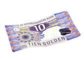старый голландский деньги: примечание 10 гульден на белом фоне — Стоковое фото