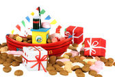The steamboat from santa claus with gingernuts and presents — Stock Photo