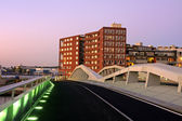 Cityscenic in Amsterdam with the Jan Schaeferbridge in the Netherlands at twilight — Stock Photo