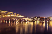 Cityscenic in Amsterdam with the Jan Schaeferbridge in the Netherlands at night — Stock Photo