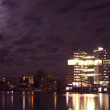 Amsterdam skyline at night in the Netherlands — Stock Photo